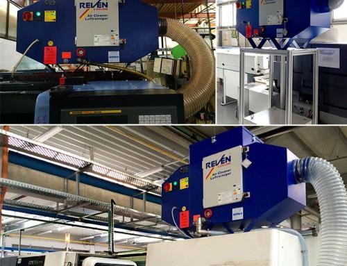 Strunguri CNC dotate cu echipamente REVEN pentru filtrarea vaporilor de ulei