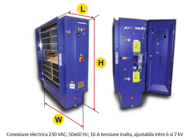 Detalii tehnice filtru electrostatic filtrare vapori si fum